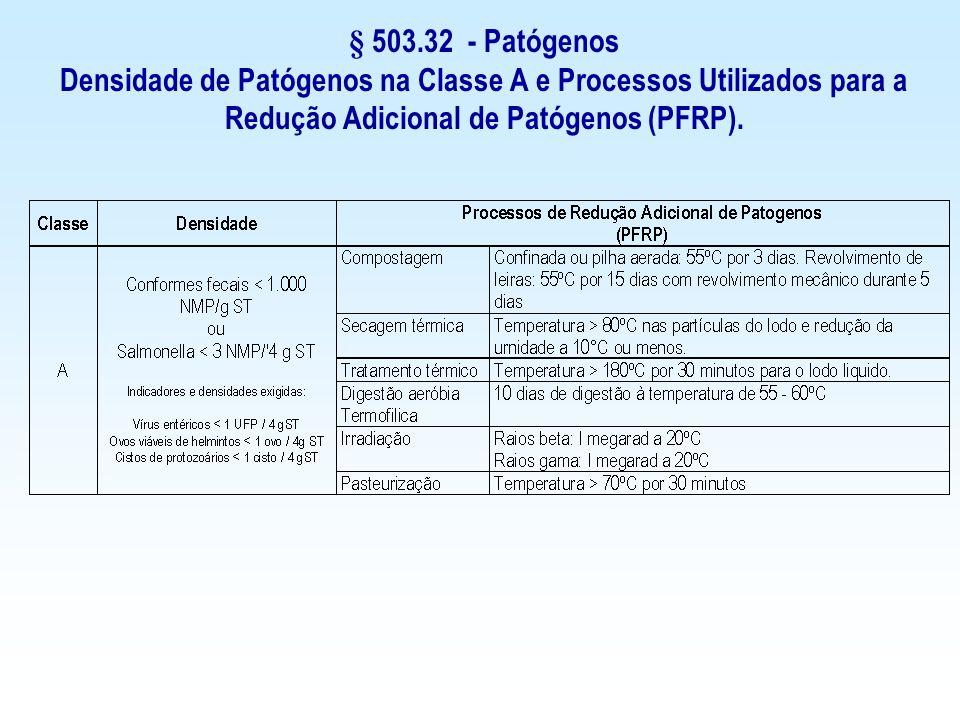 § 503.32 - Patógenos Densidade de Patógenos na Classe A e Processos Utilizados para a Redução Adicional de Patógenos (PFRP).