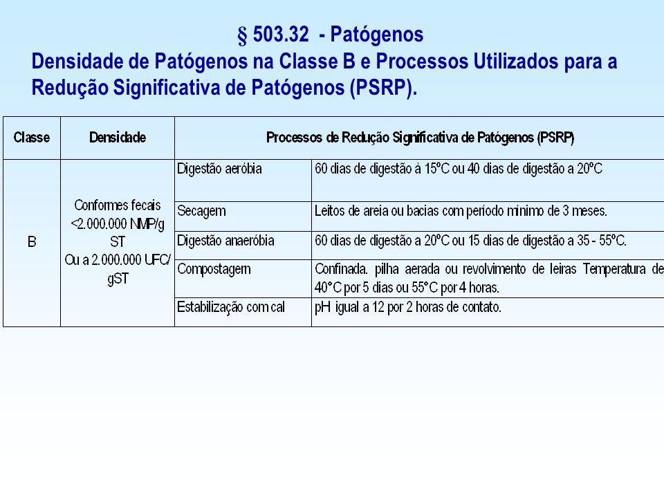 § 503.32 - Patógenos Densidade de Patógenos na Classe B e Processos Utilizados para a Redução Significativa de Patógenos (PSRP).