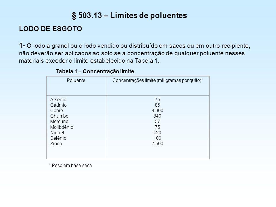 § 503.13 – Limites de poluentes LODO DE ESGOTO 1- O lodo a granel ou o lodo vendido ou distribuído em sacos ou em outro recipiente, não deverão ser ap