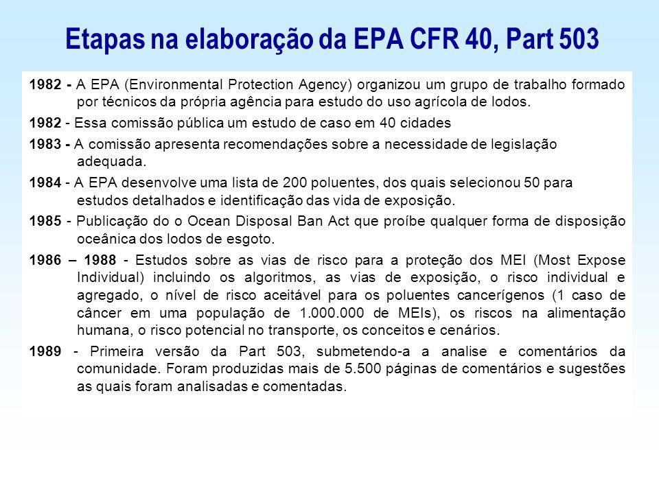 Etapas na elaboração da EPA CFR 40, Part 503 1982 - A EPA (Environmental Protection Agency) organizou um grupo de trabalho formado por técnicos da pró