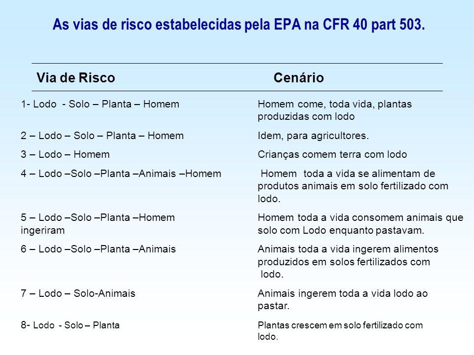 As vias de risco estabelecidas pela EPA na CFR 40 part 503 Via de RiscoCenário 9 – Lodo – Solo – Biota do SoloA biota do solo crescem em solo fertilizado com lodo.