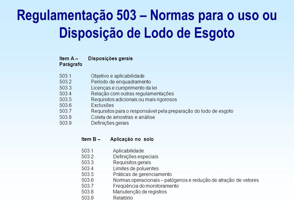 Item C – Disposição na superfície do solo 503.20Aplicabilidade 503.21 Definições especiais 503.22 Requisitos gerais 503.23 Limites de poluentes (não provenientes de esgotos domésticos) 503.24 Práticas de gerenciamento 503.25 Normas operacionais – patógenos e redução de atração de vetores 503.26 Freqüência do monitoramento 503.27Manutenção de registros 503.28 Relatório Item D - Normas operacionais – Patógenos e redução de atração de vetores 503.30Escopo 503.31 Definições especiais 503.32 Patógenos 503.33 Redução de atração de vetores Regulamentação 503 – Normas para o uso ou Disposição de Lodo de Esgoto