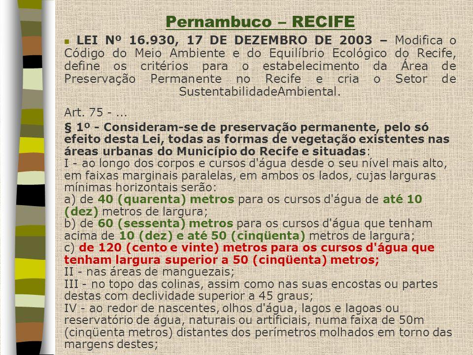 Pernambuco – RECIFE § 2º - O disposto no parágrafo anterior não se aplica: I - às áreas não revestidas de vegetação, até a data de 12 de agosto de 2002, conforme registrado na imagem de satélite QUICKBIRD/2002/Prefeitura do Recife; II - aos terrenos localizados em quadras parcialmente edificadas, até a data de 12 de agosto de 2002, conforme registrado na imagem de satélite QUICKBIRD/2002/Prefeitura do Recife.....
