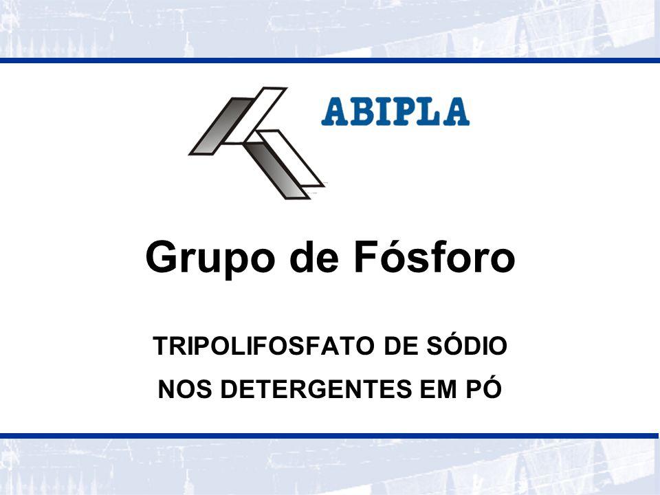 DIVISÃO DE MÓDULOS ABIPLA GRUPO DE FÓSFORO COMPOSIÇÃO DOS DETERGENTES BUILDERS STPP EUTROFIZAÇÃO IMPACTOS PROPOSTA TÉCNICA