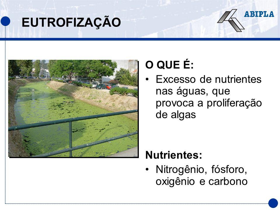 EUTROFIZAÇÃO O QUE É: Excesso de nutrientes nas águas, que provoca a proliferação de algas Nutrientes: Nitrogênio, fósforo, oxigênio e carbono
