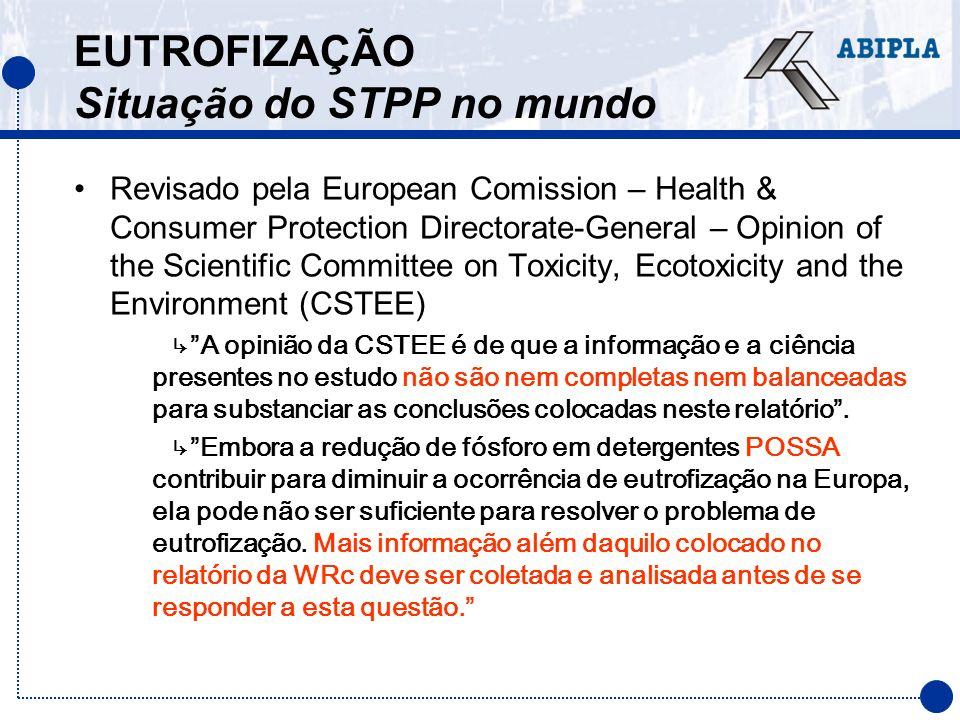 EUTROFIZAÇÃO Situação do STPP no mundo Revisado pela European Comission – Health & Consumer Protection Directorate-General – Opinion of the Scientific