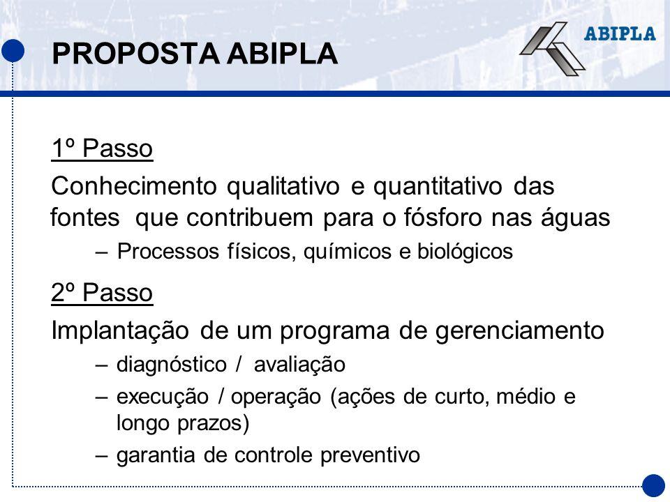 PROPOSTA ABIPLA 1º Passo Conhecimento qualitativo e quantitativo das fontes que contribuem para o fósforo nas águas –Processos físicos, químicos e bio