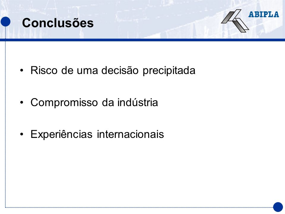 Conclusões Risco de uma decisão precipitada Compromisso da indústria Experiências internacionais