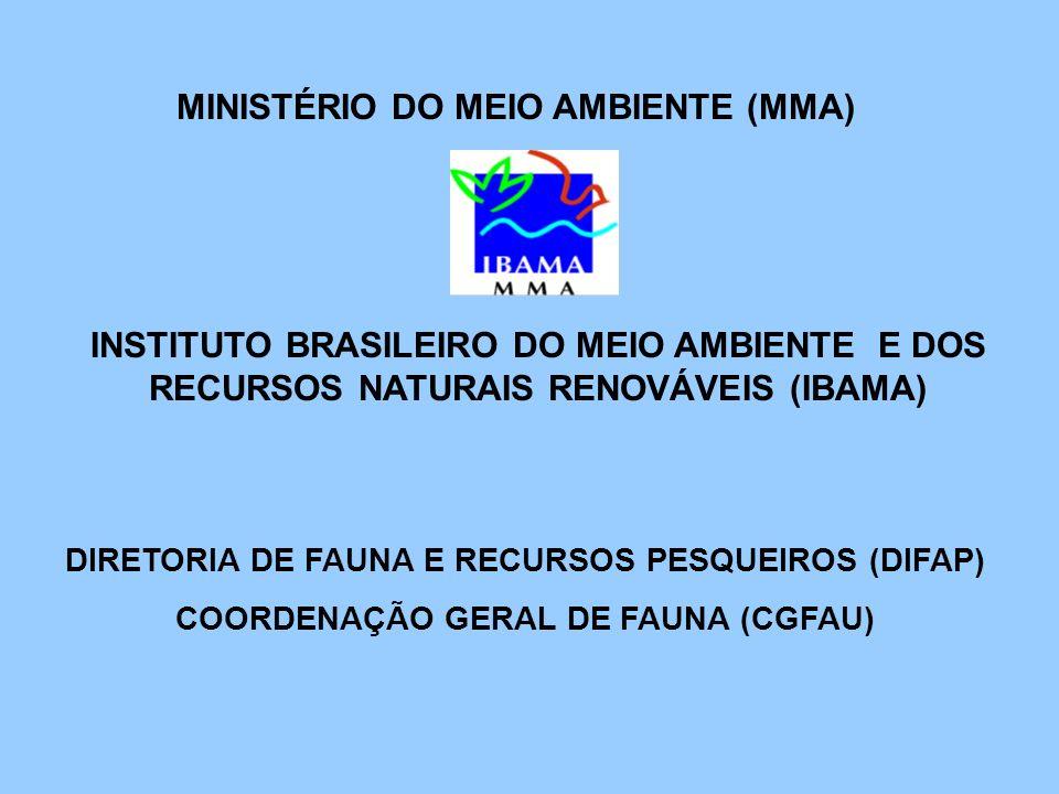 INSTITUTO BRASILEIRO DO MEIO AMBIENTE E DOS RECURSOS NATURAIS RENOVÁVEIS (IBAMA) DIRETORIA DE FAUNA E RECURSOS PESQUEIROS (DIFAP) COORDENAÇÃO GERAL DE