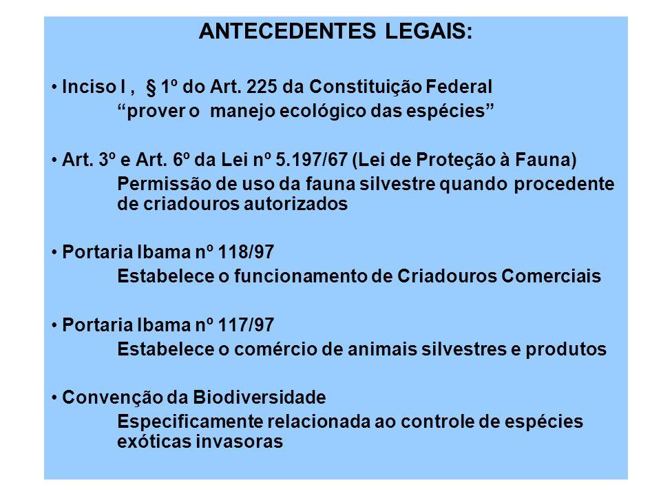 ANTECEDENTES LEGAIS: Inciso I, § 1º do Art. 225 da Constituição Federal prover o manejo ecológico das espécies Art. 3º e Art. 6º da Lei nº 5.197/67 (L