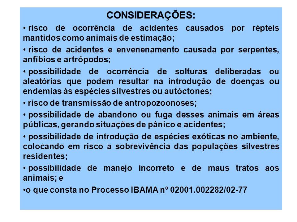 CONSIDERAÇÕES: risco de ocorrência de acidentes causados por répteis mantidos como animais de estimação; risco de acidentes e envenenamento causada po