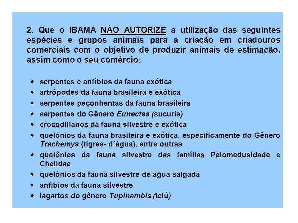 NÃO AUTORIZE 2. Que o IBAMA NÃO AUTORIZE a utilização das seguintes espécies e grupos animais para a criação em criadouros comerciais com o objetivo d