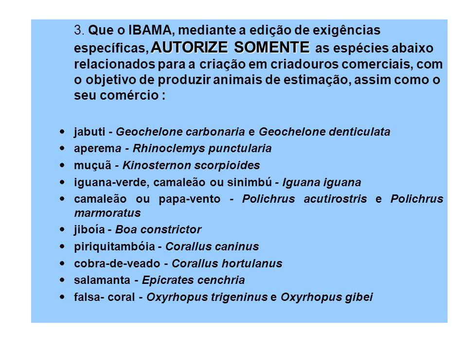 AUTORIZE SOMENTE 3. Que o IBAMA, mediante a edição de exigências específicas, AUTORIZE SOMENTE as espécies abaixo relacionados para a criação em criad