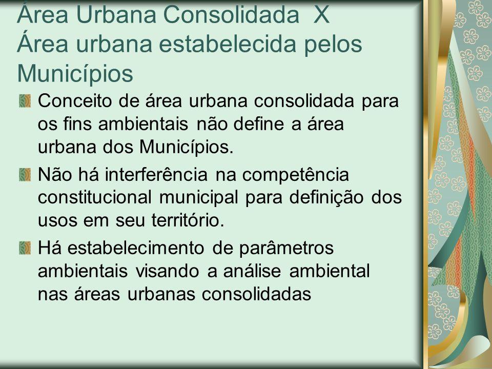 Área Urbana Consolidada X Área urbana estabelecida pelos Municípios Conceito de área urbana consolidada para os fins ambientais não define a área urba