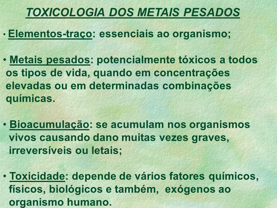 TOXICOLOGIA DOS METAIS PESADOS Elementos-traço: essenciais ao organismo; Metais pesados: potencialmente tóxicos a todos os tipos de vida, quando em concentrações elevadas ou em determinadas combinações químicas.