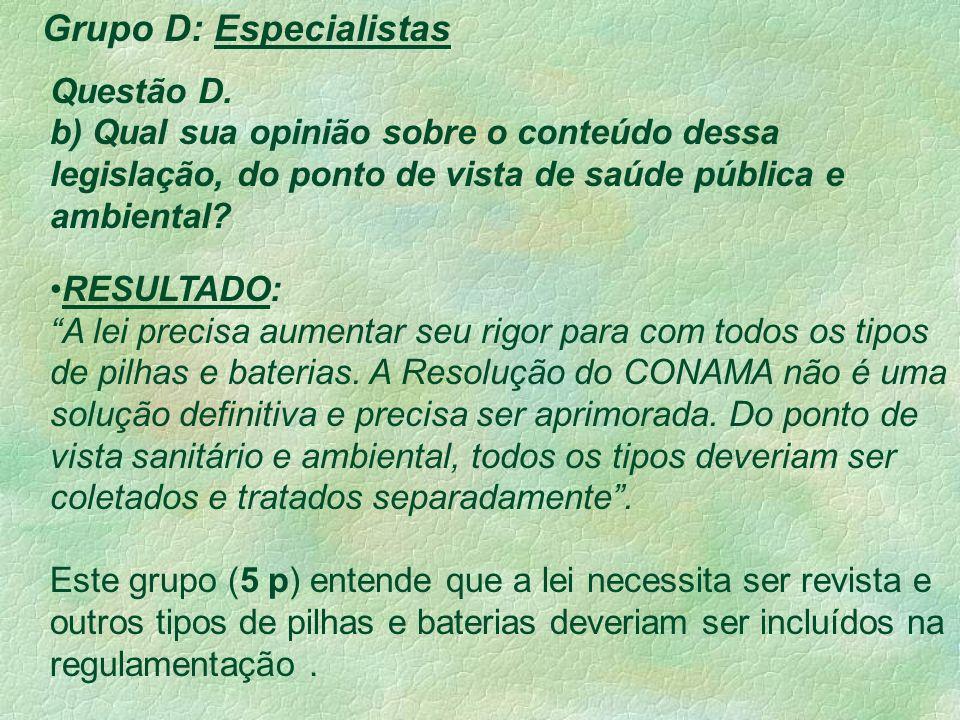 Grupo D: Especialistas Questão D.