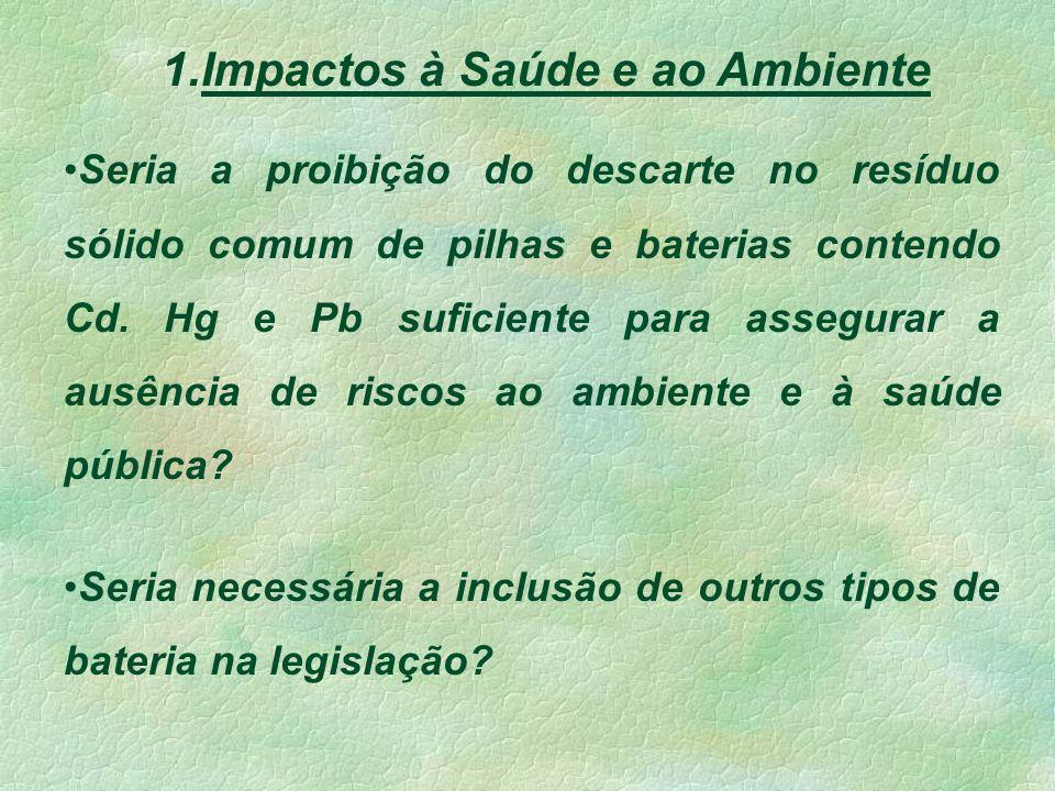 1.Impactos à Saúde e ao Ambiente Seria a proibição do descarte no resíduo sólido comum de pilhas e baterias contendo Cd.