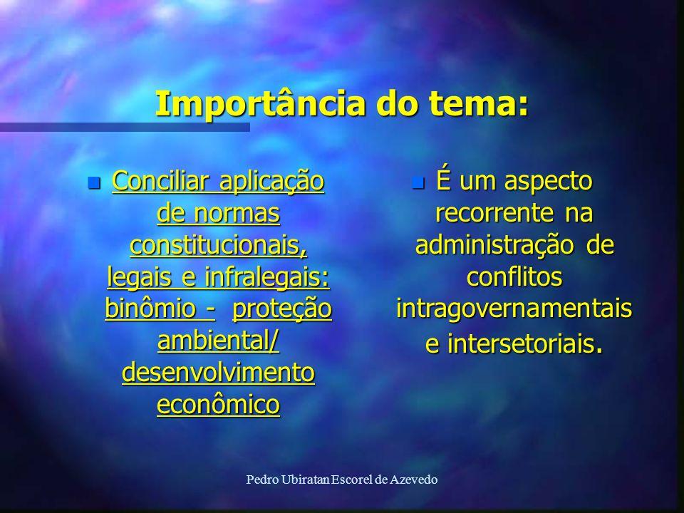 Pedro Ubiratan Escorel de Azevedo Importância do tema: n Conciliar aplicação de normas constitucionais, legais e infralegais: binômio - proteção ambie