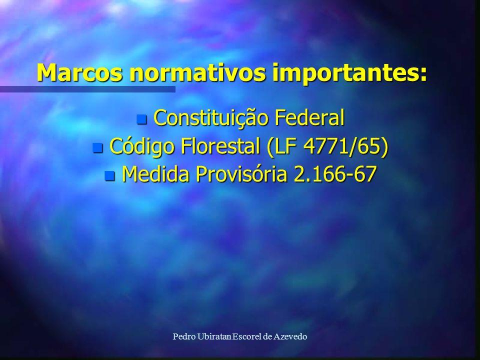 Pedro Ubiratan Escorel de Azevedo Marcos normativos importantes: n Constituição Federal n Código Florestal (LF 4771/65) n Medida Provisória 2.166-67