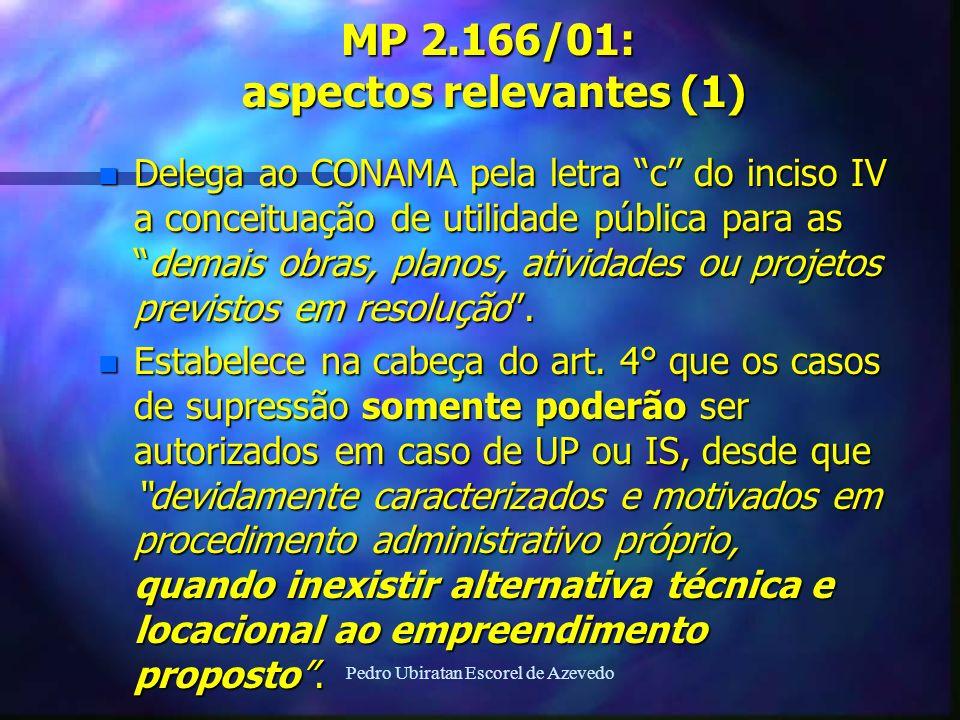 Pedro Ubiratan Escorel de Azevedo MP 2.166/01: aspectos relevantes (1) n Delega ao CONAMA pela letra c do inciso IV a conceituação de utilidade públic