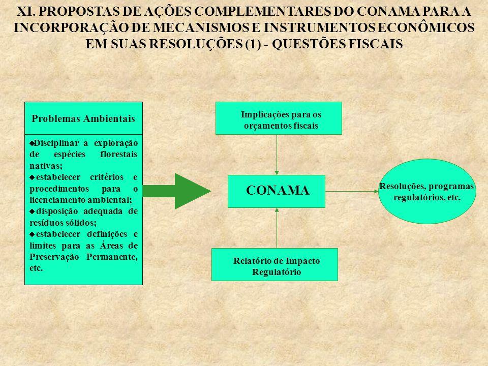 XI. PROPOSTAS DE AÇÕES COMPLEMENTARES DO CONAMA PARA A INCORPORAÇÃO DE MECANISMOS E INSTRUMENTOS ECONÔMICOS EM SUAS RESOLUÇÕES (1) - QUESTÕES FISCAIS
