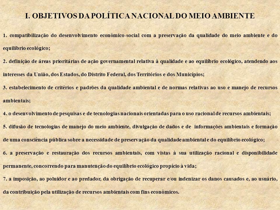 I. OBJETIVOS DA POLÍTICA NACIONAL DO MEIO AMBIENTE 1.