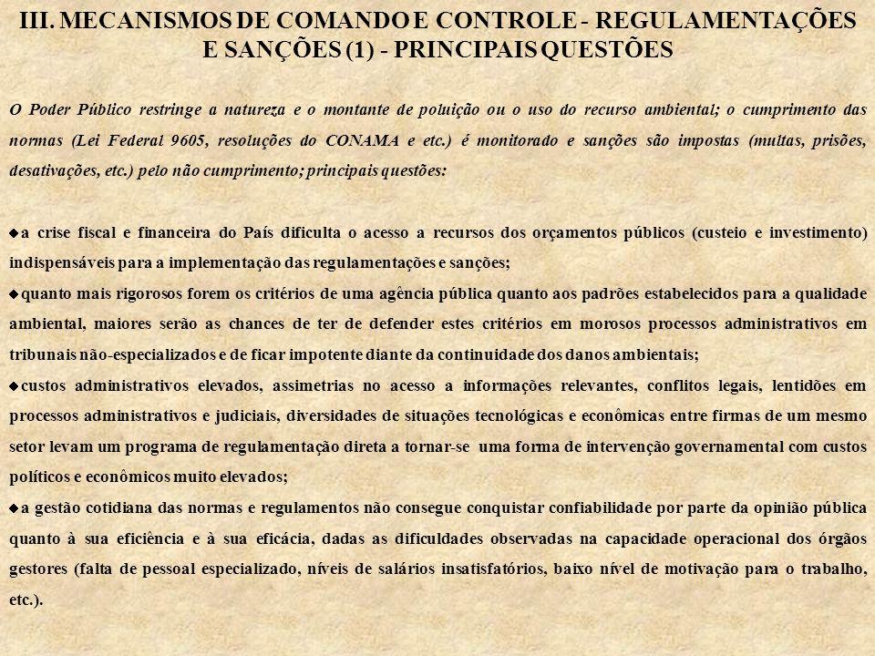 III. MECANISMOS DE COMANDO E CONTROLE - REGULAMENTAÇÕES E SANÇÕES (1) - PRINCIPAIS QUESTÕES O Poder Público restringe a natureza e o montante de polui