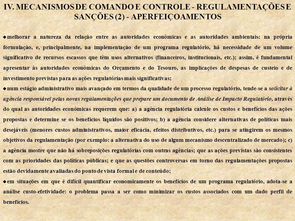 IV. MECANISMOS DE COMANDO E CONTROLE - REGULAMENTAÇÕES E SANÇÕES (2) - APERFEIÇOAMENTOS melhorar a natureza da relação entre as autoridades econômicas