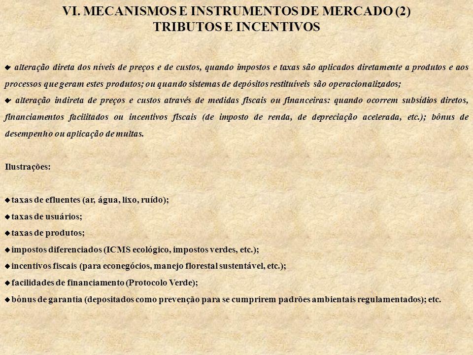 VI. MECANISMOS E INSTRUMENTOS DE MERCADO (2) TRIBUTOS E INCENTIVOS · alteração direta dos níveis de preços e de custos, quando impostos e taxas são ap