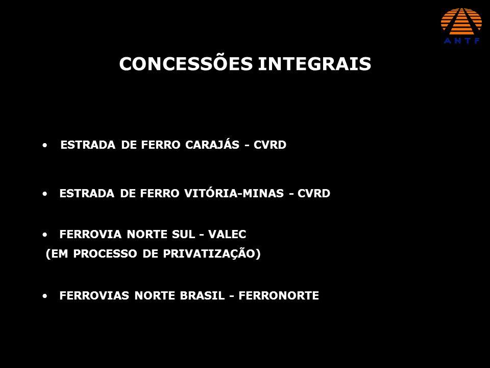 ESTRADA DE FERRO CARAJÁS - CVRD CONCESSÕES INTEGRAIS ESTRADA DE FERRO VITÓRIA-MINAS - CVRD FERROVIA NORTE SUL - VALEC (EM PROCESSO DE PRIVATIZAÇÃO) FE