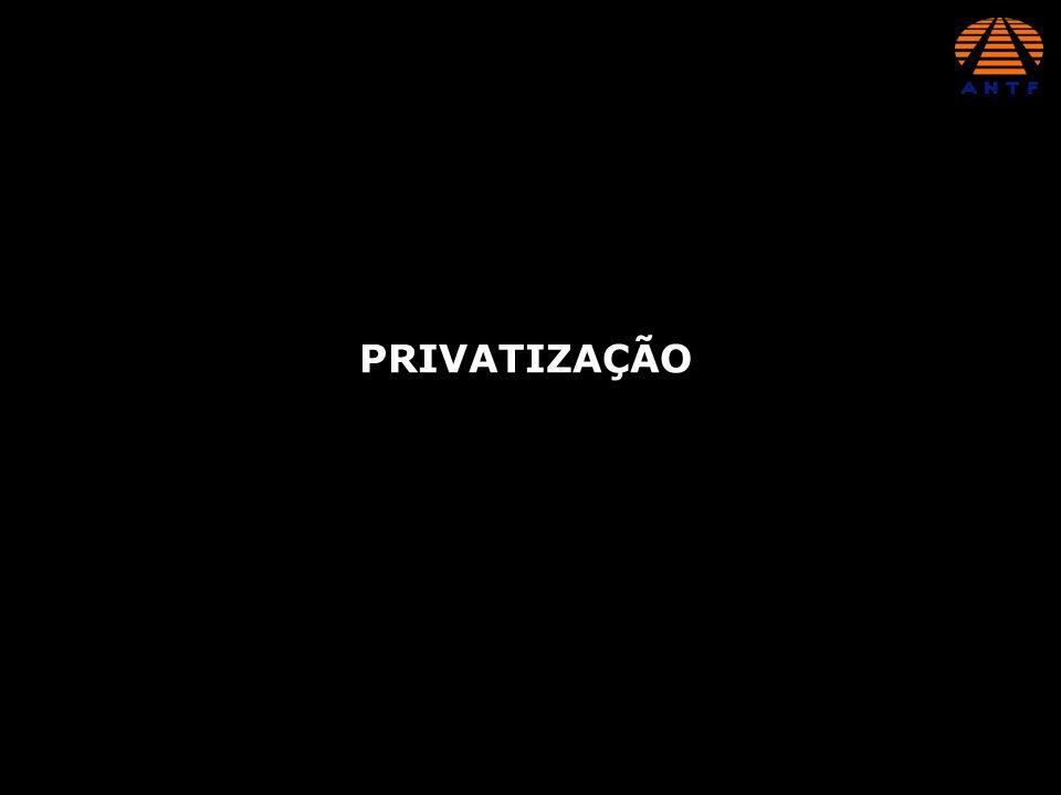 FERROVIA PÚBLICA E OPERAÇÃO PRIVADA MALHAS DA RFFSA E FEPASA ARRENDAMENTO DOS ATIVOS OPERACIONAIS CONCESSÃO PARA EXPLORAÇÃO DO TRANSPORTE FERROVIÁRIO DE CARGAS POR 30 ANOS PRORROGÁVEIS FIXAÇÃO DE METAS DE DESEMPENHO (PRODUÇÃO E ACIDENTES)