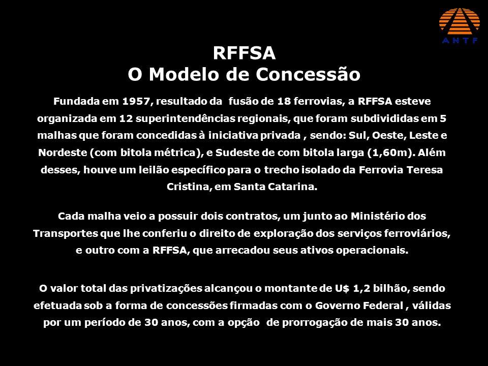 RFFSA O Modelo de Concessão Fundada em 1957, resultado da fusão de 18 ferrovias, a RFFSA esteve organizada em 12 superintendências regionais, que fora