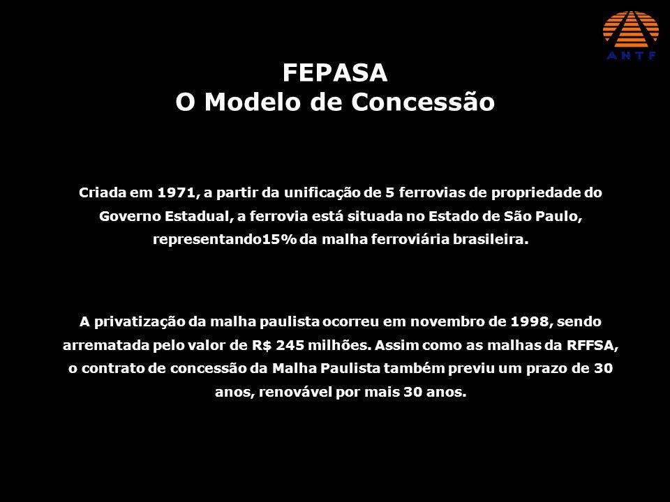 FEPASA O Modelo de Concessão A privatização da malha paulista ocorreu em novembro de 1998, sendo arrematada pelo valor de R$ 245 milhões. Assim como a