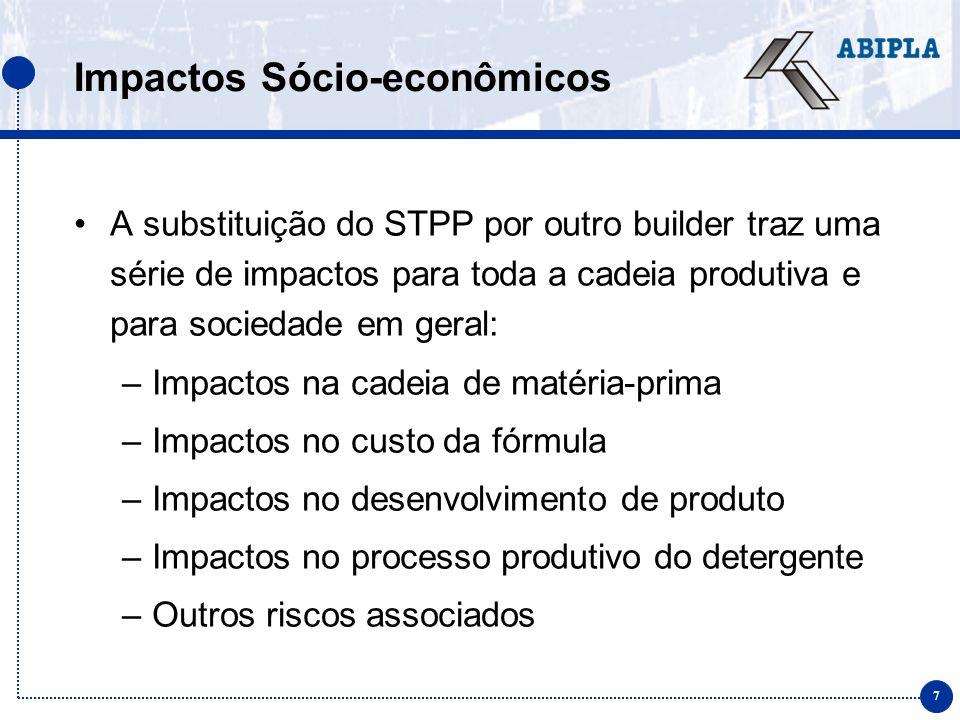 8 Impactos na cadeia de matéria-prima Definição da formulação Custo / benefício Cadeia de fornecimento (local / importação) Cadeia logística Processabilidade Estabilidade Desempenho ambiental Necessidade de coadjuvantes