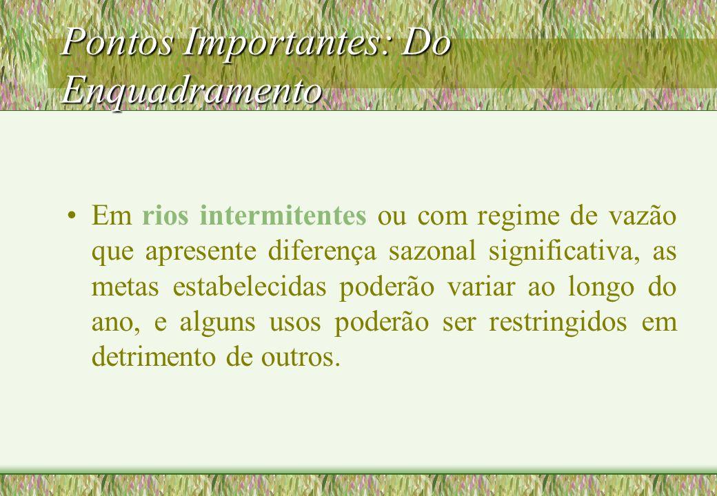 Pontos Importantes: Do Enquadramento Em rios intermitentes ou com regime de vazão que apresente diferença sazonal significativa, as metas estabelecida