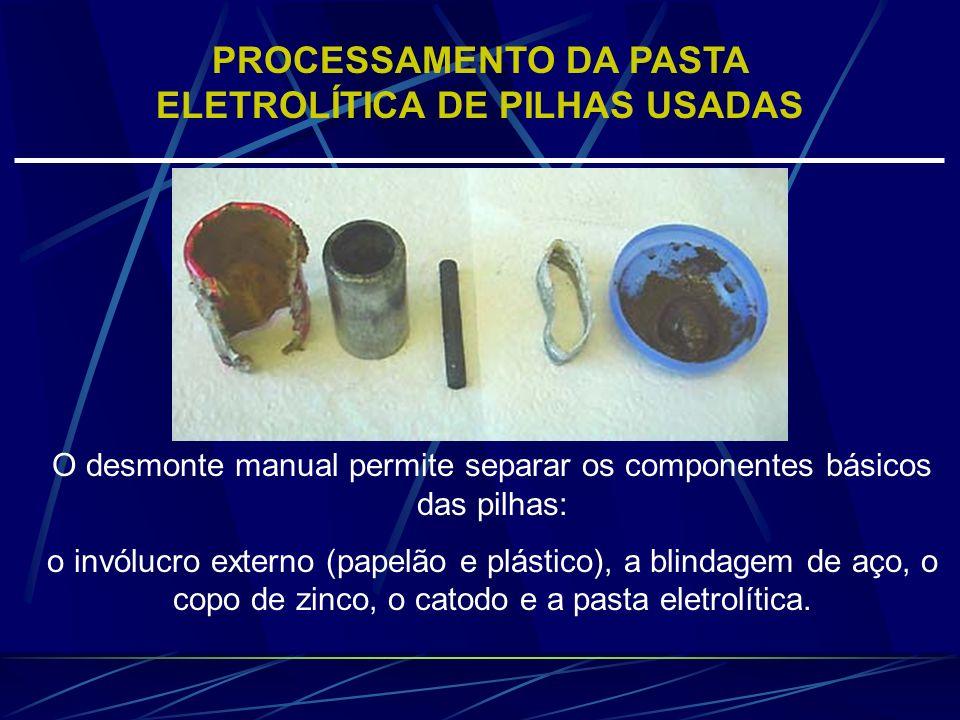 O desmonte manual permite separar os componentes básicos das pilhas: o invólucro externo (papelão e plástico), a blindagem de aço, o copo de zinco, o