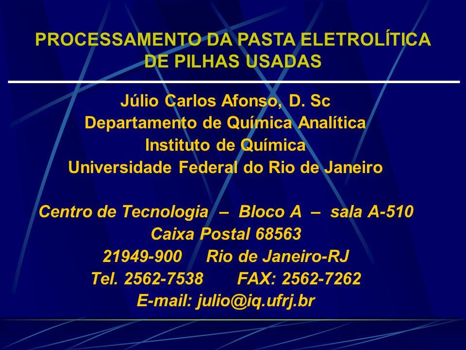 Júlio Carlos Afonso, D. Sc Departamento de Química Analítica Instituto de Química Universidade Federal do Rio de Janeiro Centro de Tecnologia – Bloco
