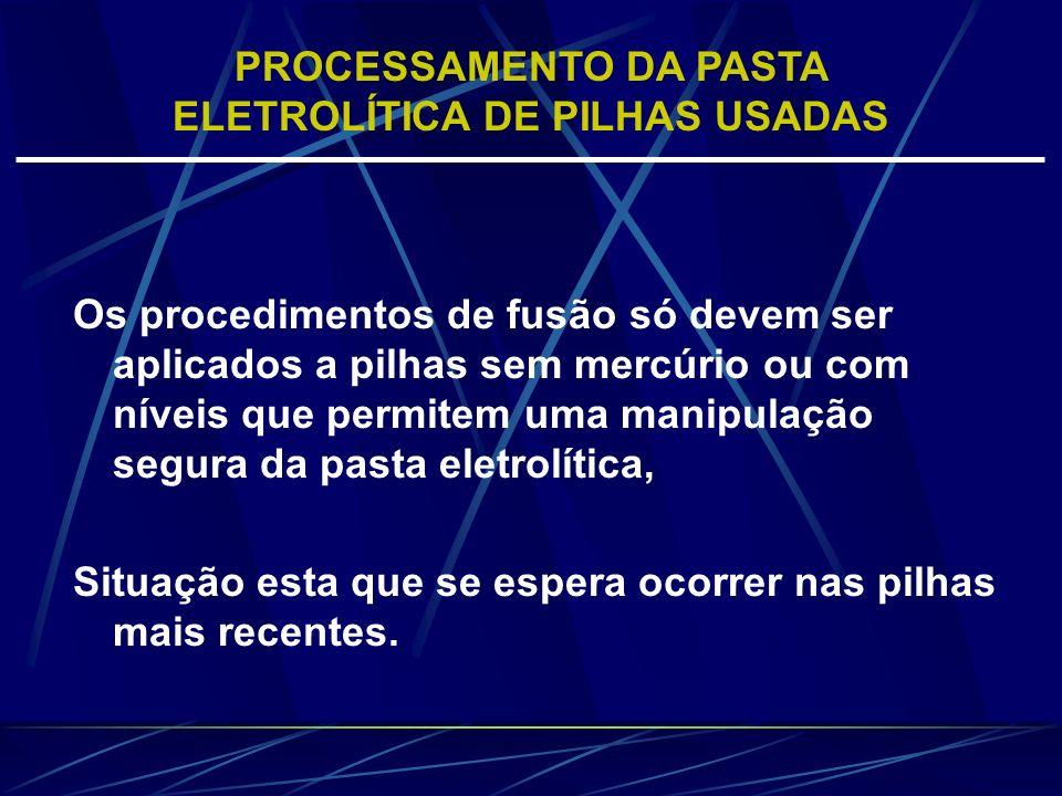 Os procedimentos de fusão só devem ser aplicados a pilhas sem mercúrio ou com níveis que permitem uma manipulação segura da pasta eletrolítica, Situaç