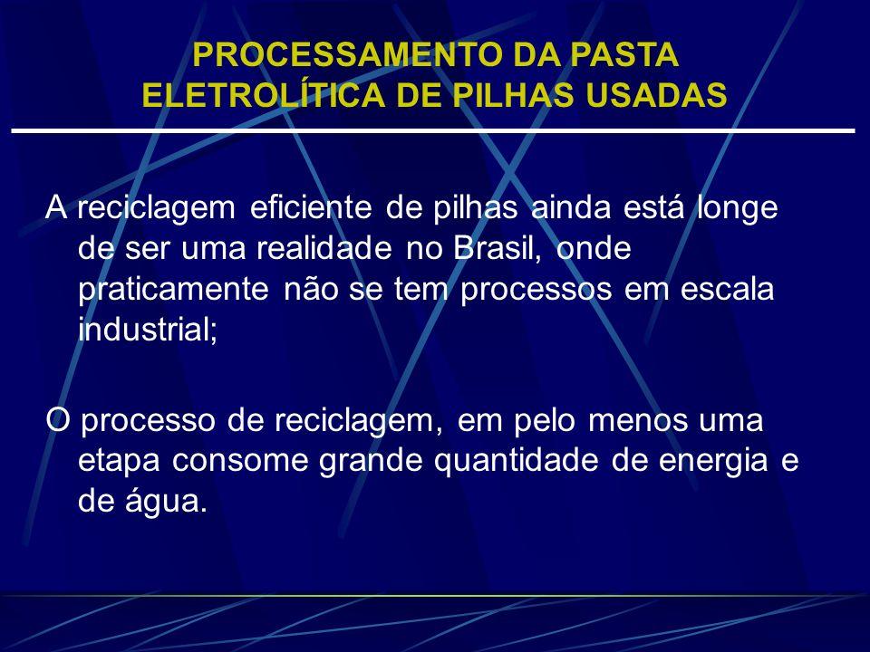 A reciclagem eficiente de pilhas ainda está longe de ser uma realidade no Brasil, onde praticamente não se tem processos em escala industrial; O proce
