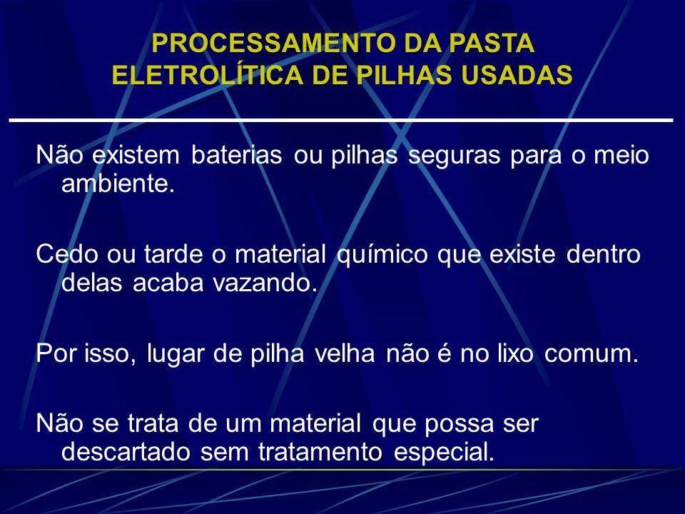 Os procedimentos de fusão só devem ser aplicados a pilhas sem mercúrio ou com níveis que permitem uma manipulação segura da pasta eletrolítica, Situação esta que se espera ocorrer nas pilhas mais recentes.