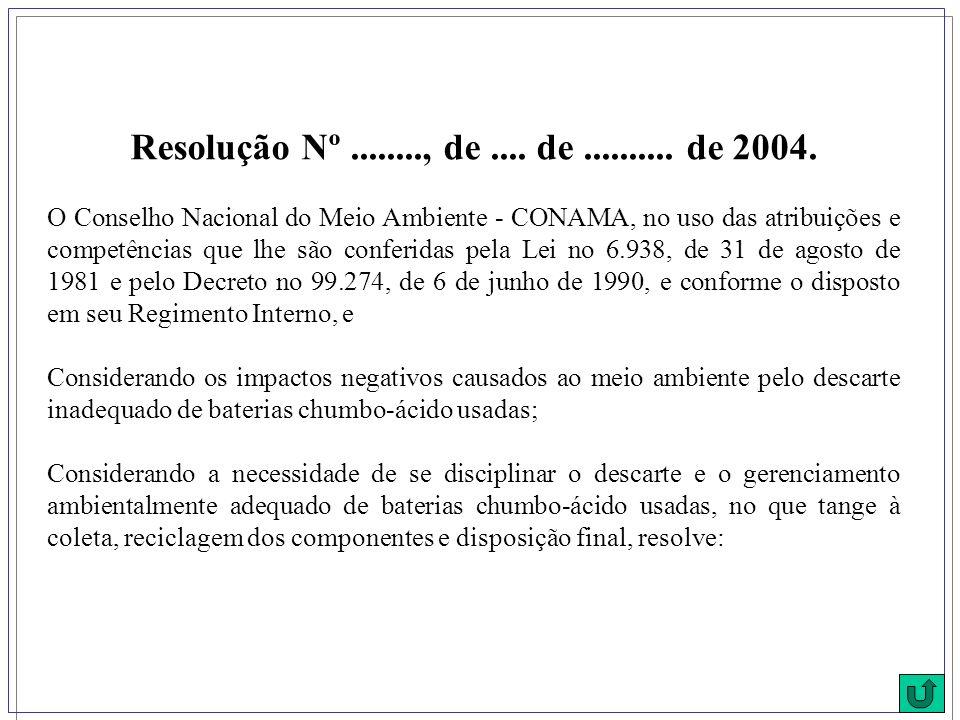 Resolução Nº........, de.... de.......... de 2004. O Conselho Nacional do Meio Ambiente - CONAMA, no uso das atribuições e competências que lhe são co