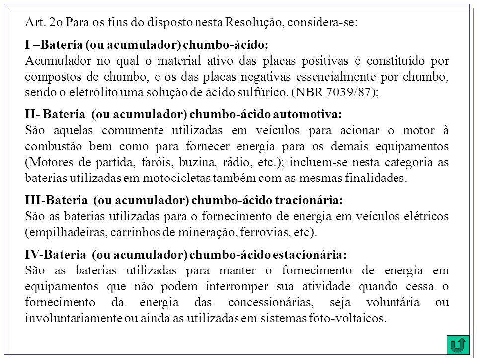 Art. 2o Para os fins do disposto nesta Resolução, considera-se: I –Bateria (ou acumulador) chumbo-ácido: Acumulador no qual o material ativo das placa