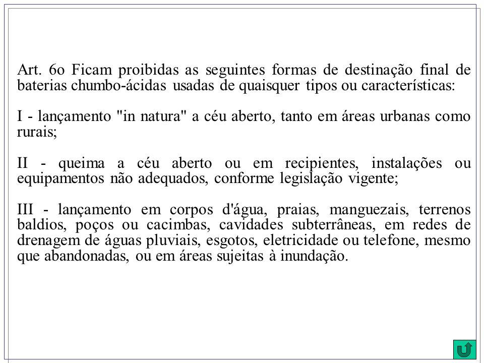 Art. 6o Ficam proibidas as seguintes formas de destinação final de baterias chumbo-ácidas usadas de quaisquer tipos ou características: I - lançamento