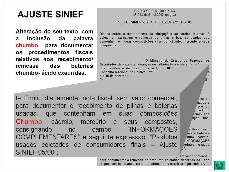 DIÁRIO OFICIAL DA UNIÃO nº 248 de 21.12.2000 (pág. 3) AJUSTE SINIEF 5, DE 15 DE DEZEMBRO DE 2000 Dispõe sobre o cumprimento de obrigações acessórias r