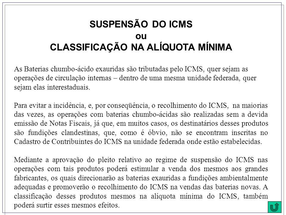 SUSPENSÃO DO ICMS ou CLASSIFICAÇÃO NA ALÍQUOTA MÍNIMA As Baterias chumbo-ácido exauridas são tributadas pelo ICMS, quer sejam as operações de circulação internas – dentro de uma mesma unidade federada, quer sejam elas interestaduais.