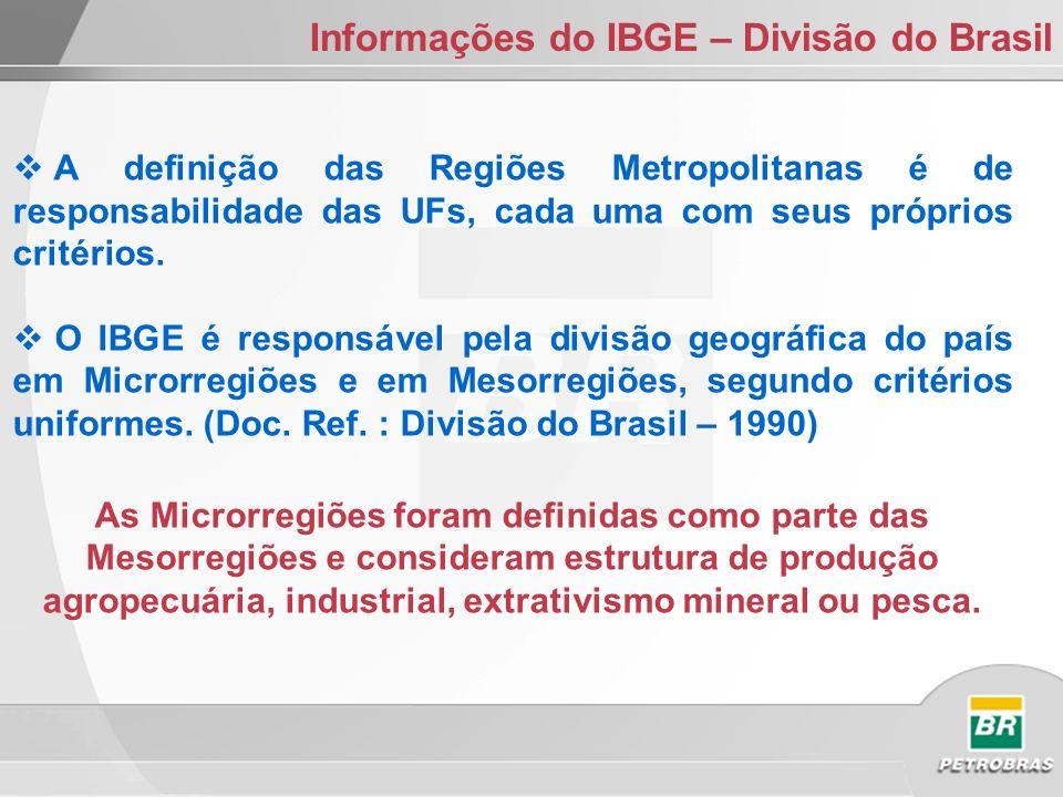 Informações do IBGE – Divisão do Brasil A definição das Regiões Metropolitanas é de responsabilidade das UFs, cada uma com seus próprios critérios.