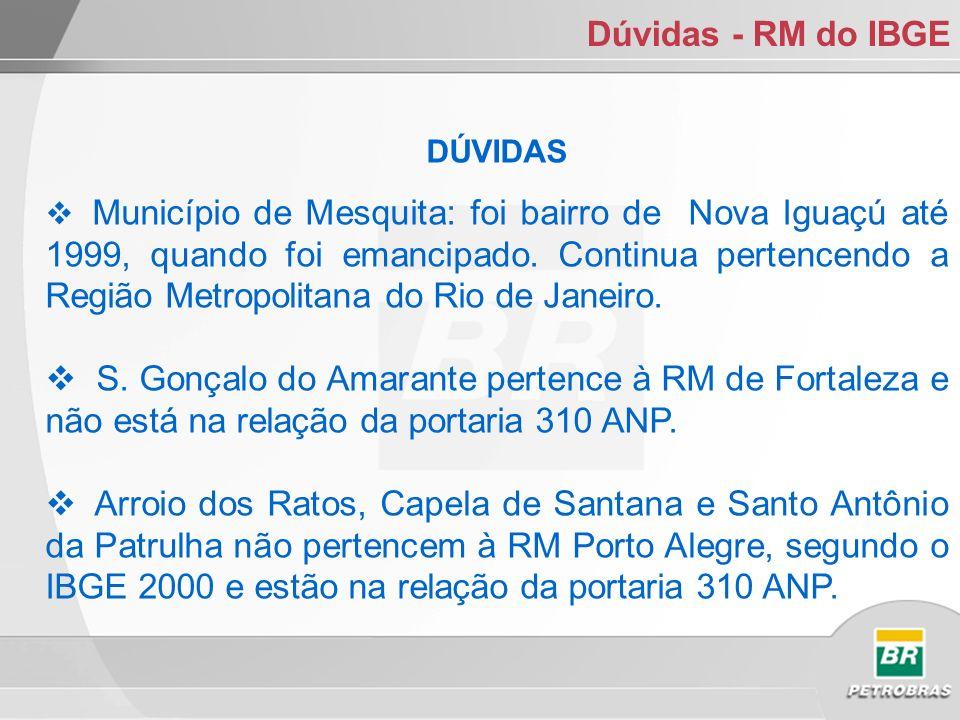 Dúvidas - RM do IBGE DÚVIDAS Município de Mesquita: foi bairro de Nova Iguaçú até 1999, quando foi emancipado.