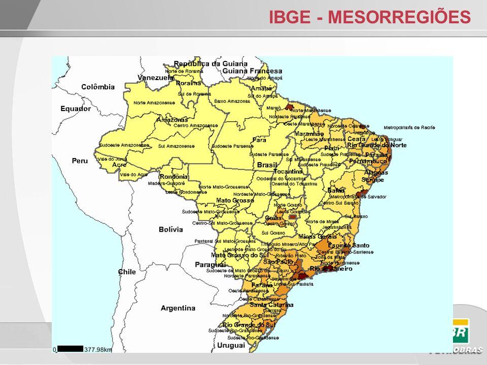 IBGE – MESORREGIÕES RM e Mesorregião Metropolitana: exemplos Mesorregião Metropolitana de São Paulo: RM de São Paulo Parte da RM Baixada Santista Mesorregião Vale do Rio Doce: Inclui RM Vale do Aço
