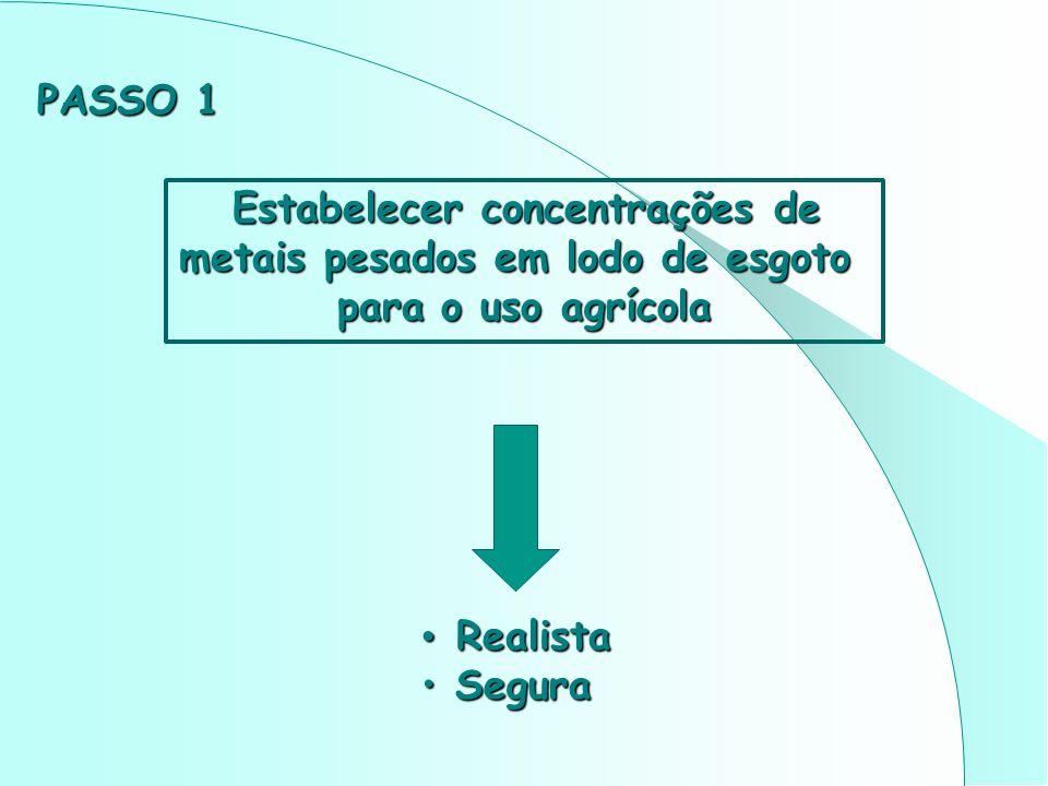 Estabelecer concentrações de Estabelecer concentrações de metais pesados em lodo de esgoto para o uso agrícola Realista Realista Segura Segura PASSO 1