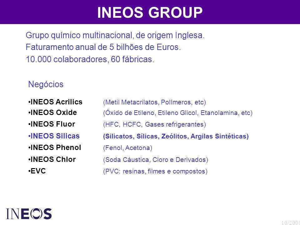 10/2001 INEOS GROUP Grupo químico multinacional, de origem Inglesa. Faturamento anual de 5 bilhões de Euros. 10.000 colaboradores, 60 fábricas. Negóci